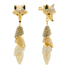 High Quality 1:1 Swa New Crystal Golden Earrings Form Fox Muzzle. Womens Female Fashion Jewelry