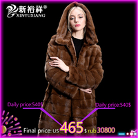 Natural Mink Fur Coats with Hood Women Winter Warm Hooded Long Thick Outwear Real Fur jackets Genuine Mink Coat Plus Size S 6XL