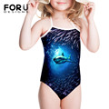 New Blue Sea Shark One Piece Swimsuit for Girls 2016 Summer Holiday Bathing Swimwear Infantil Swimming Wear For Bathers Children