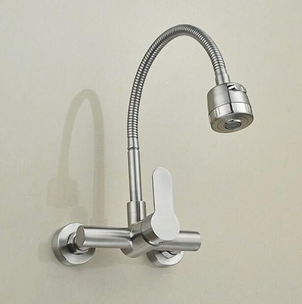 Wall Mounted Stream Sprayer Kitchen Faucet Single Handle 304 Stainless Steel  Flexible Hose Kitchen Mixer Taps Dual Holes  In Kitchen Faucets From Home  ...