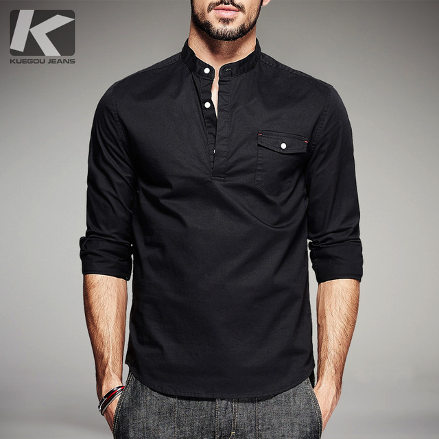 Man Shirt New Mandarin Collar Mans Business Dress Shirt Black Solid