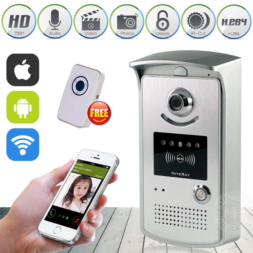 HD 720P Wifi Doorbell Camera Wireless Video Intercom Phone Control IP Door Camera Wireless Door Bell Support IOS/Android APP  new wifi global doorbell camera wireless video intercom ip video door phone wireless door bell