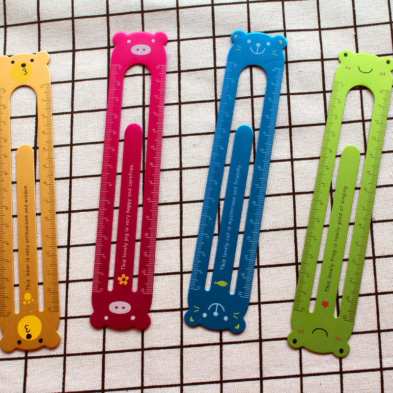 Fromthenon Student Rulers 13cm Metal Stainless Ruler Metal Clip Bookmark Color Kawaii Stationery School Supplies Double Sided