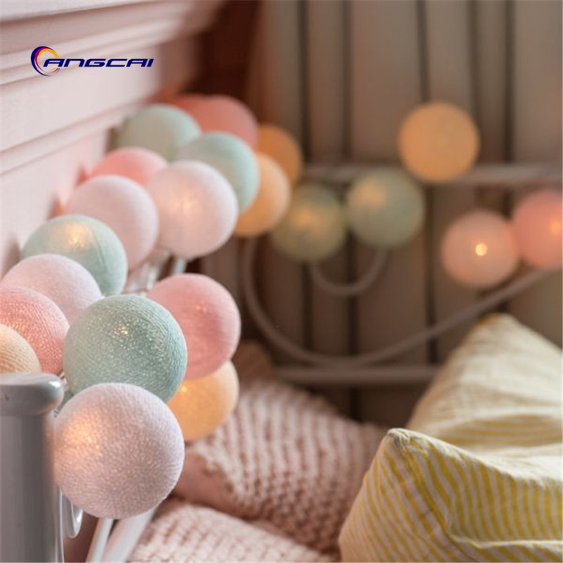 Thai Style Sweet Pastel Cotton Ball String Lights Bedroom Fairy Nursery Night Light Garland Holiday LED Battery Powered Wedding