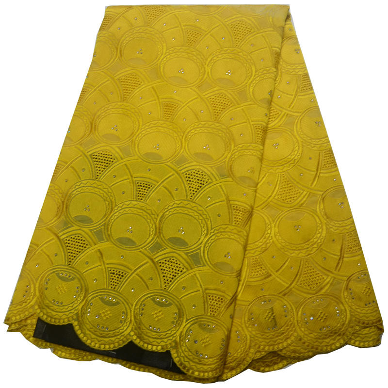 Free shipping 5yards pc High quality yellow African cotton lace soft Swiss voile lace fabric for