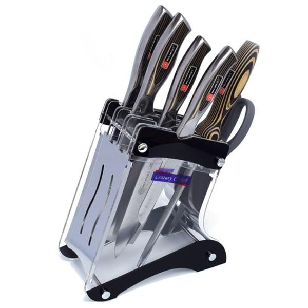 Multi-Purpose Breathable Acrylic Kitchen Knife Block Knife Storage Holder Rack Organizer (Black)