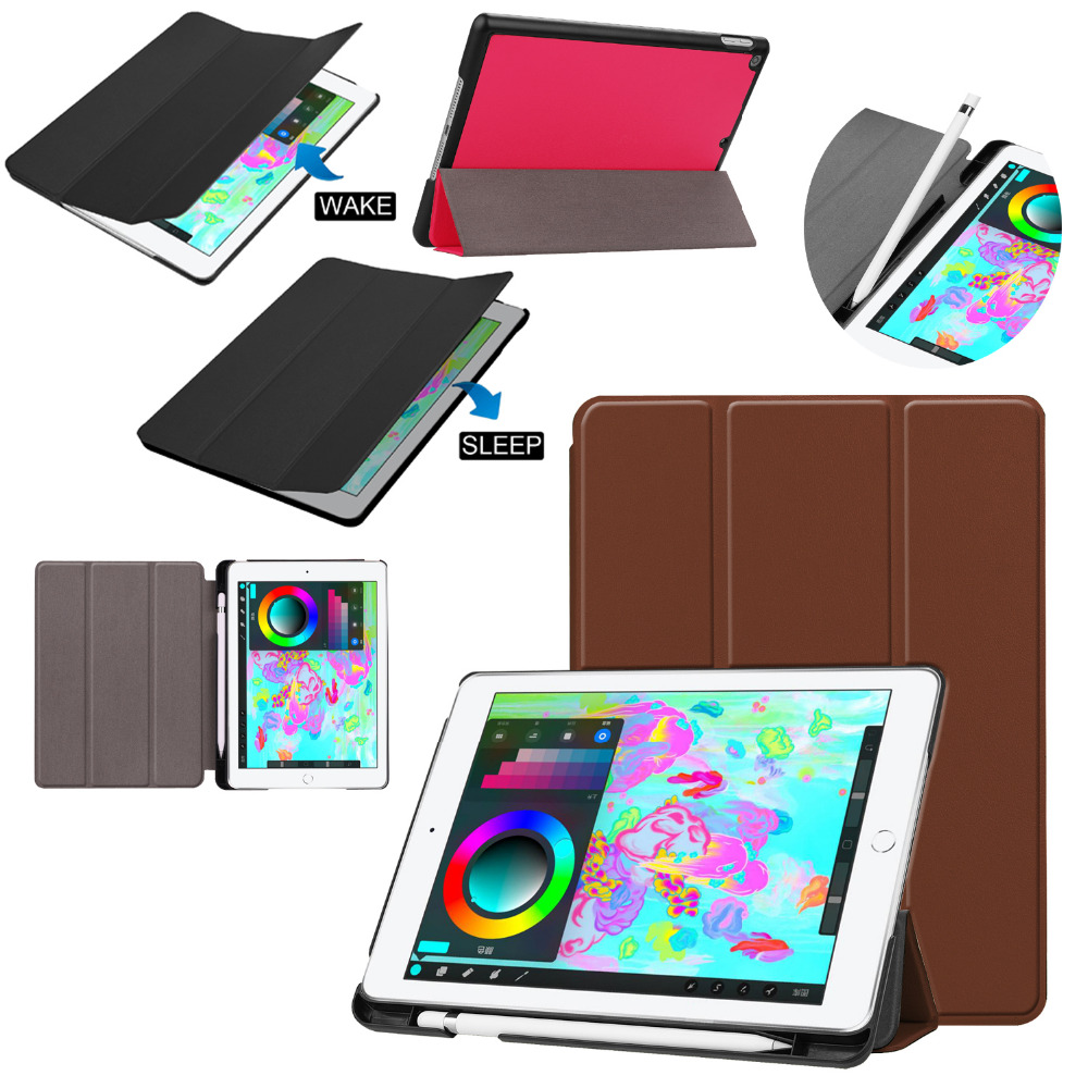 Ultra Slim Flip Stand PU Leather Skin Magnet Smart Pen Holder Cover Case For Apple iPad 9.7 2018 2017 Tablet Funda + Screen Film flip left and right stand pu leather case cover for blu vivo air
