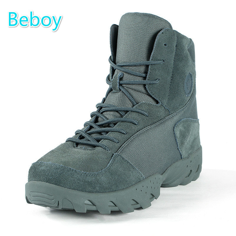 ФОТО Beboy Waterproof Hiking Trekking Boots Men Genuine Leather Army Tactical Boots Camping Military Boots Non-slip High-top Shoes