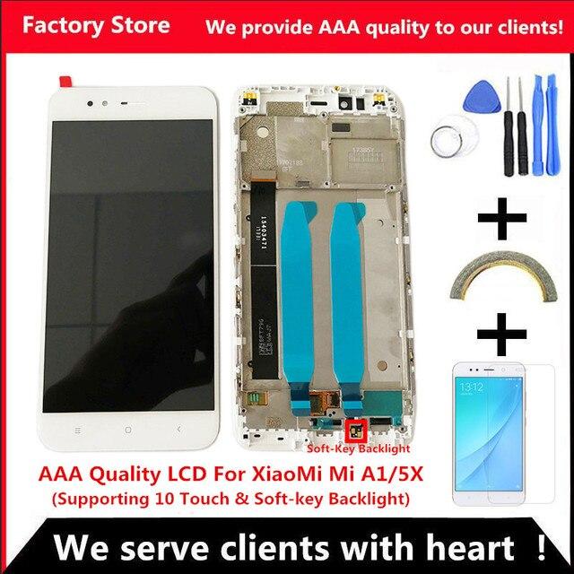 Jakość AAA LCD + ramka do wyświetlacza LCD XiaoMi Mi A1 do montażu LCD XiaoMi 5X/A1 (obsługa 10 dotyku i podświetlenia)
