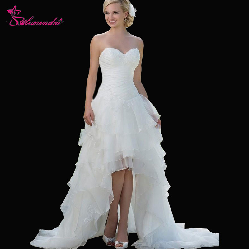 Alexzendra A Line Sweetheart High Low Wedding Dresses Organza Appliques Short Front Long Back Bridal Gowns