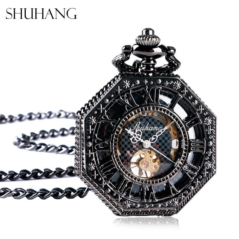 SHUHANG Classic Nursing Watches Octagon Shape Mechanical Pocket Watch Retro Half Hunter Hand Winding Fob Hour Relogio De Bolso