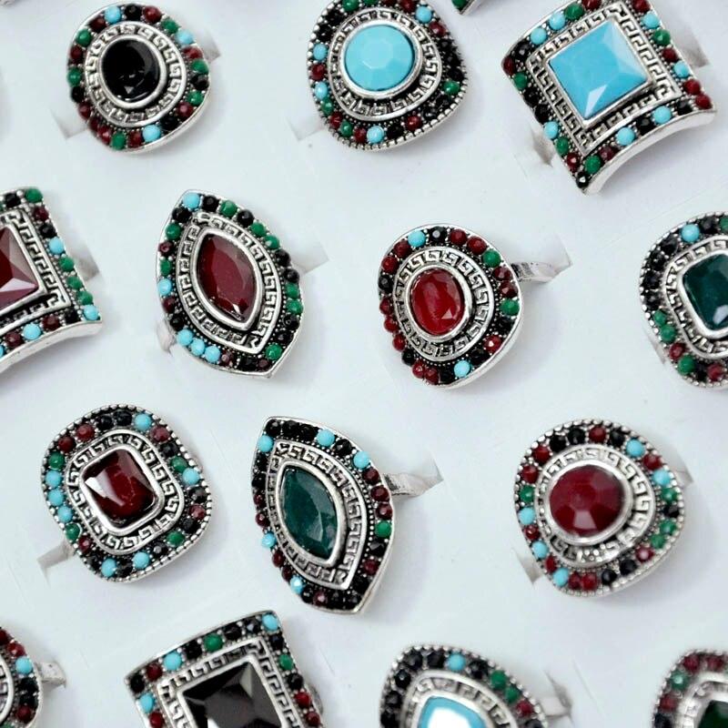 10Pcs Vintage Retro Rhinestone Ancient Silver Women Ring Lot Female Anel Jewelry Lots Top Quality LR4051