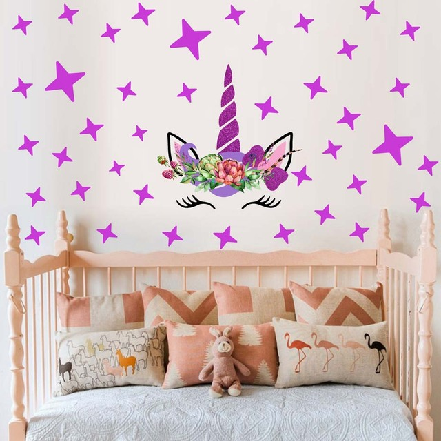 unicorns flower wall stickers kids baby girls room wall decals diy