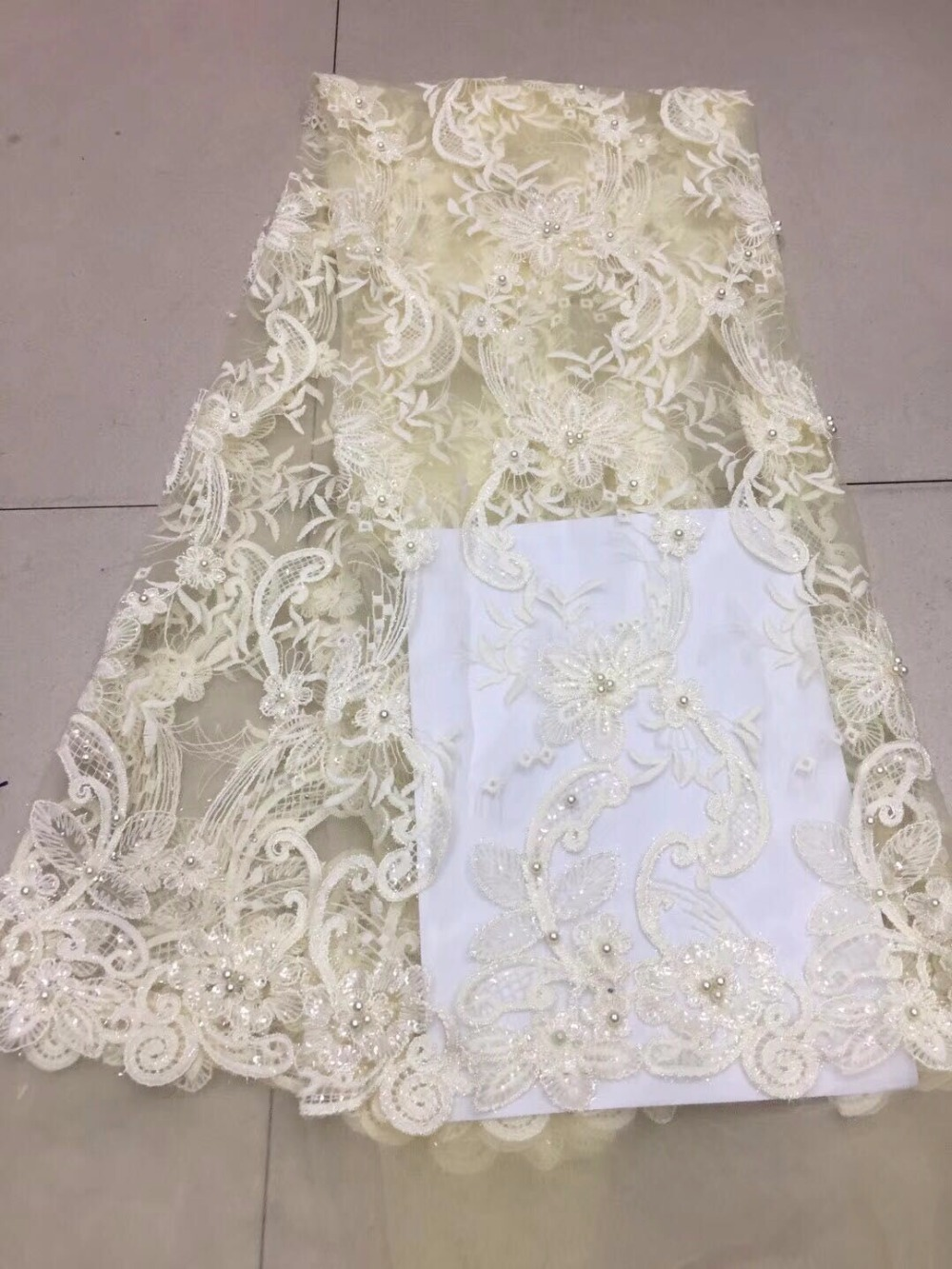 High quality beads gold powder African lace fabric aso beautiful French mesh embroidery tulle Nigerian garment