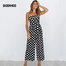 Mamelucos de verano de Mujer Pantalones largos de correa elegante monos 2019 polka dot talla grande mono de hombro para mujer