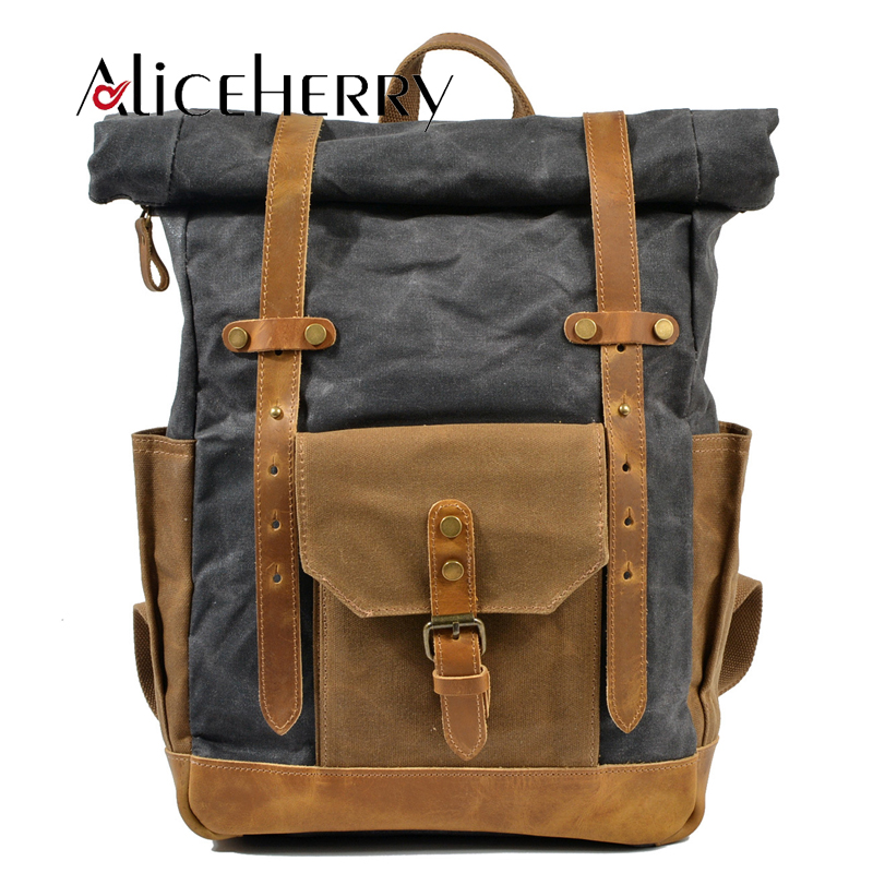 Vintage Canvas Leather Large Backpack For Men's School Bags Laptop Bagpack Teenagers Multi-Function Travel Men Leather BackBags
