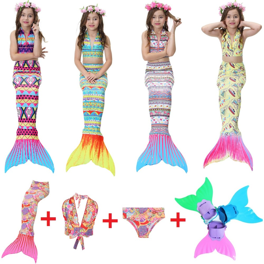 2018 New Mermaid Swimsuit Children's Bikini Baby Swimsuit with Monifin swimsuit Cosplay costumes Halloween costumes Set