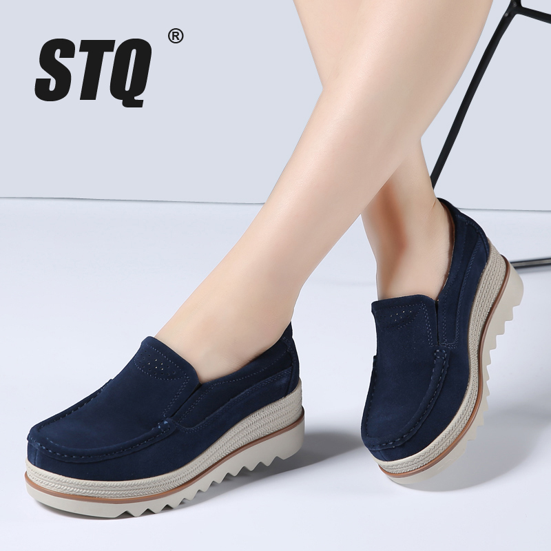 STQ 2019 Autumn women flats shoes platform sneakers shoes leather suede casual shoes slip on flats heels creepers moccasins 3088