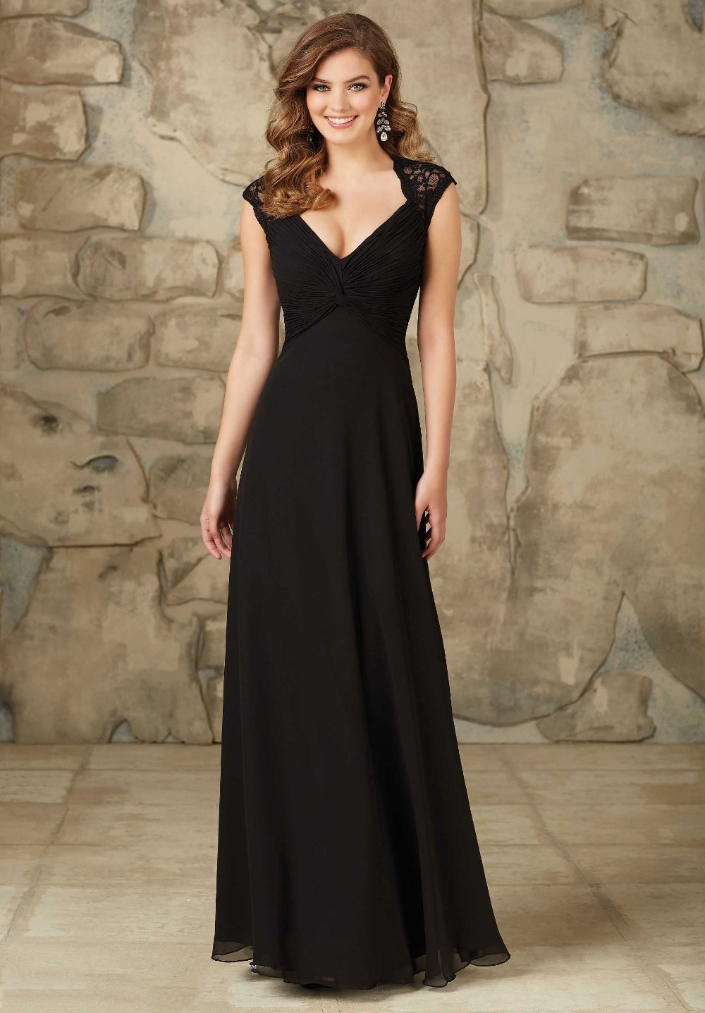 Maternity Formal Wedding Party Dress Long Chiffon Black Lace Bridesmaid Dresses Plus Size 2017 Open Back Maid Of Honor Gown In From