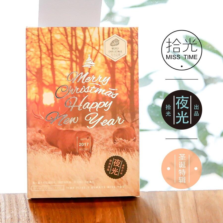 30sheets/LOT Merry Christmas Happy New Year Luminous Postcard /Greeting Card/Wish Card