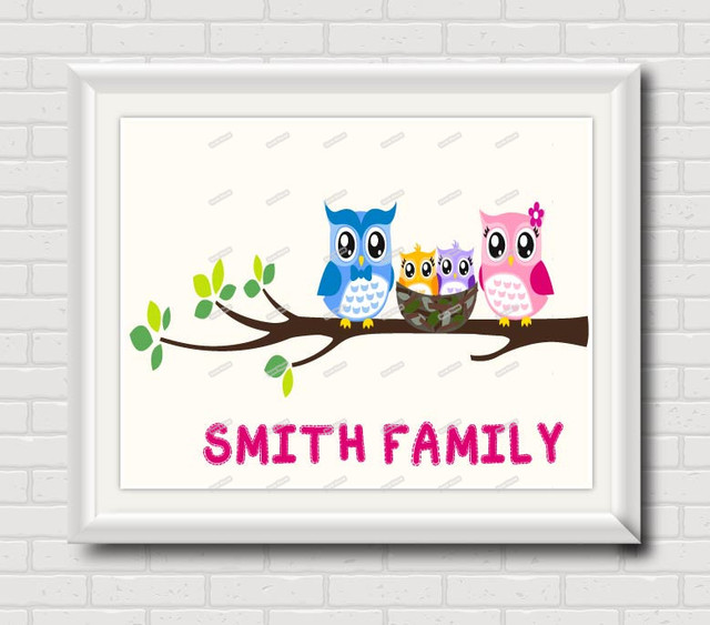 Owl Family Nursery Wall Art Print Modern Pictures for kids room