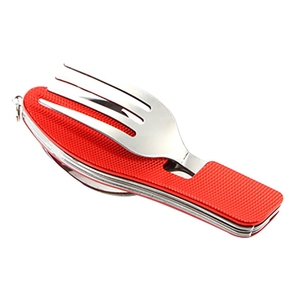 Image 5 - Multi Functional Tableware Portable Detachable Folding Stainless Steel Fork Cutlery Bottle Opener Camping Picnic EDC Flatware