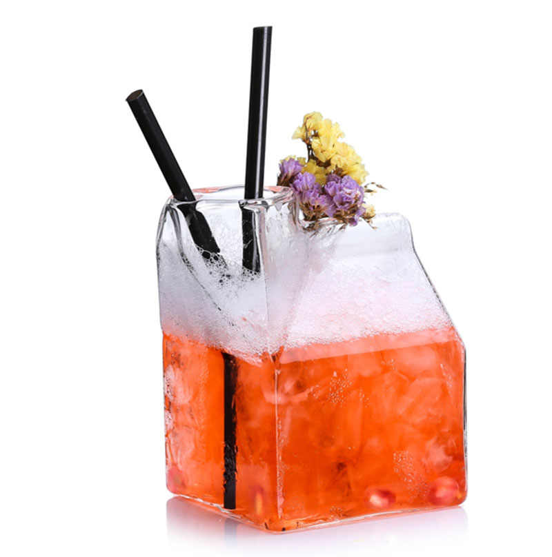 Gratis Pengiriman 4 Pcs Square Bentuk Koktail Susu Kaca/Gelas Jus Air Minum Set 4