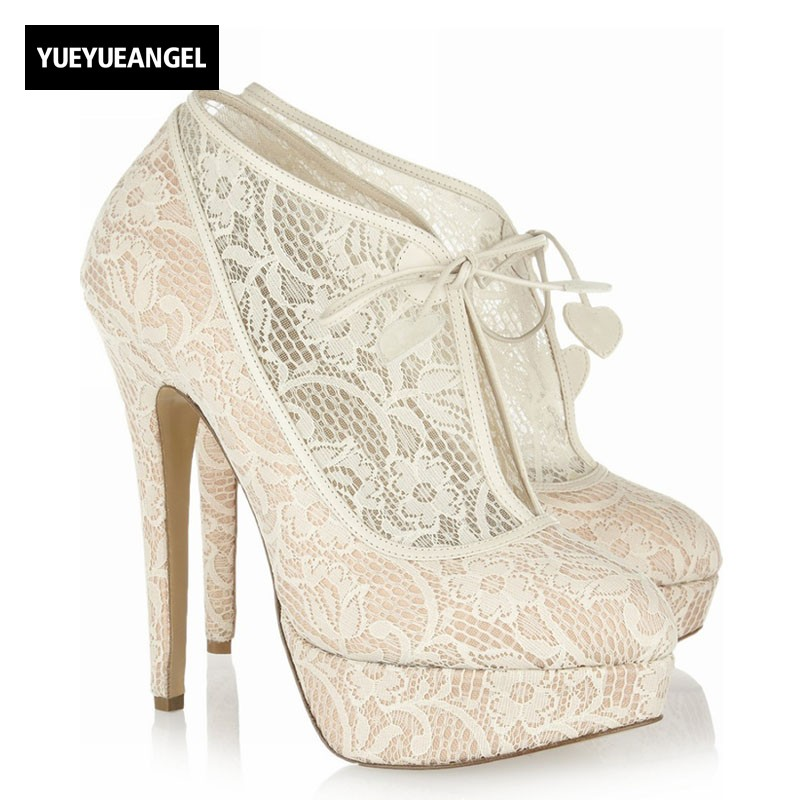 2018 New Women Lace Hollow Out High Heels Shoes Spring Wedding Dress Shoes Elegant Sexy Ankle Botas Thick Platform Party Pumps