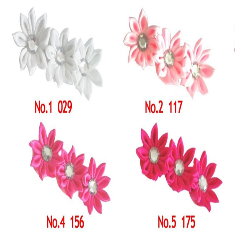 "50 BLESSING Good Girl 3/"" Row Flower Clip Grosgrain Ribbon Accessories"