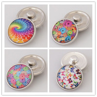 10pcs/lot 18 mm glass print snap button jewelry luxurious alloy bottom fit ginger snaps buttons necklace KB2503-AU