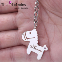 Cute Horse Keychain Custom Name Cut Hollow Personalized Name Key Chain with Zircon Pretty Gift