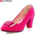 Горячие продажа мода элегантные женщины насосы круглый носок плюс размер 34-43 квадратных высокие каблуки горный хрусталь блестками отдыха партии обувь женщина