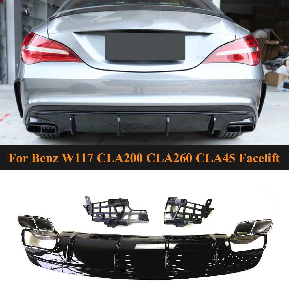 JC SPORTLINE Carbon Fiber Rear Diffuser Fits for Mercedes Benz CLA Class W117 C117 CLA200 CLA250 Sport CLA45 AMG Sedan 2013-2019 Bumper Cover Lower Lip Spoiler Valance Protector Factory Outlet