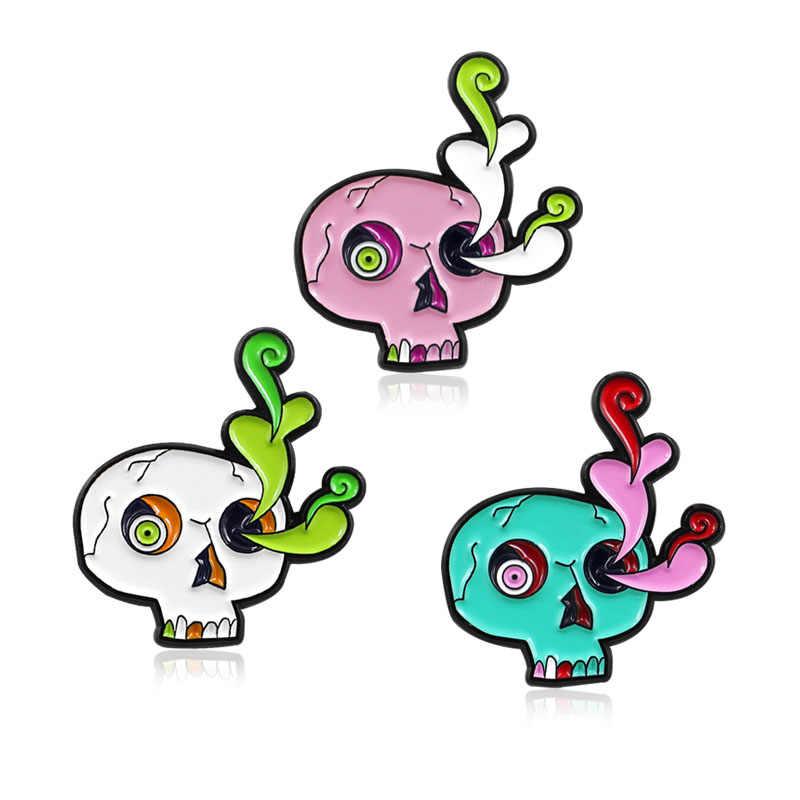 Kartun Pin Putih Pink Hijau Kerangka Tengkorak Halloween Hadiah Meledak Otak Bola Mata Tumbuh Bros Tas Ransel Halloween Pin Permata