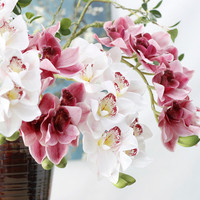 11Heads Real Touch 3D Printing Grand Cymbidium Orchid Latex Artificial Flowers For Home Party Wedding Decoration