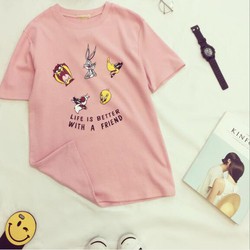 Cute Cartoon Print Tshirt Women Spring Summer New Style Short Sleeve O Neck Cotton Women Tops Tees Loose Woman T shirt 5