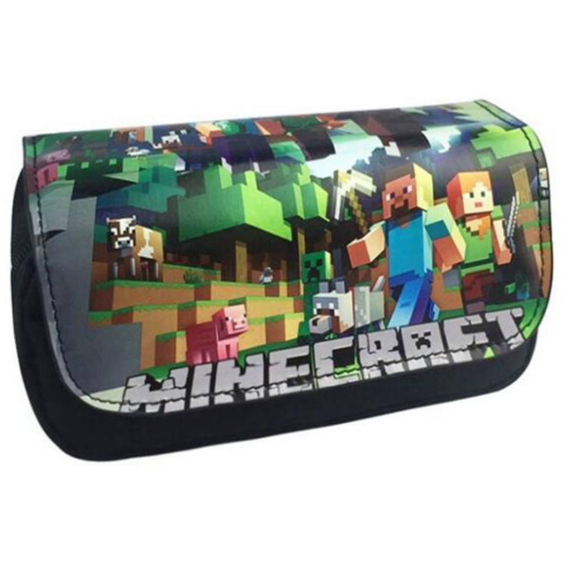 Minecraft Pencil Case Classic Game Animated Cartoon Double layer ZipperSuper Big Capacity Pencil Bag School Supplies Stationery lucky john croco spoon big game mission 24гр 004