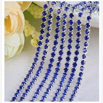 1 ярд/шт, 30 цветов, стеклянные хрустальные стразы на цепочке, Серебряное дно, Пришивные цепочки для рукоделия, украшения сумок для одежды - Цвет: Sapphire blue