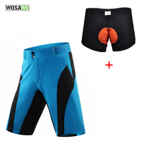 WOSAWE Loose Cycling Shorts ciclismo MTB Bike Bicycle Running Shorts+3D Padded Underwear Detachable short