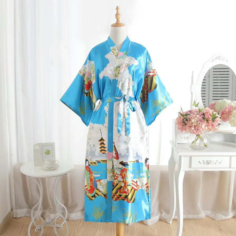 Vintage Floral Embroidered Bride bridesmaid Satin Robe Dressing Gown Wedding