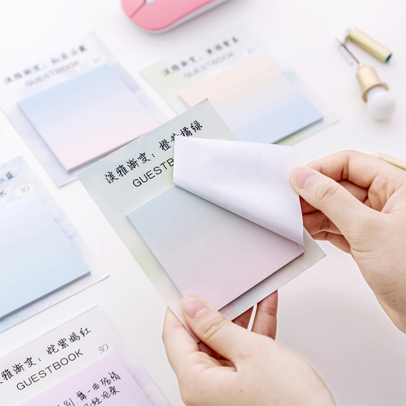 Cute Kawaii Rainbow Watercolor Gradient Sticky Note Memo Pad Post It Note Office Planner Sticker Paper Korean School Stationery