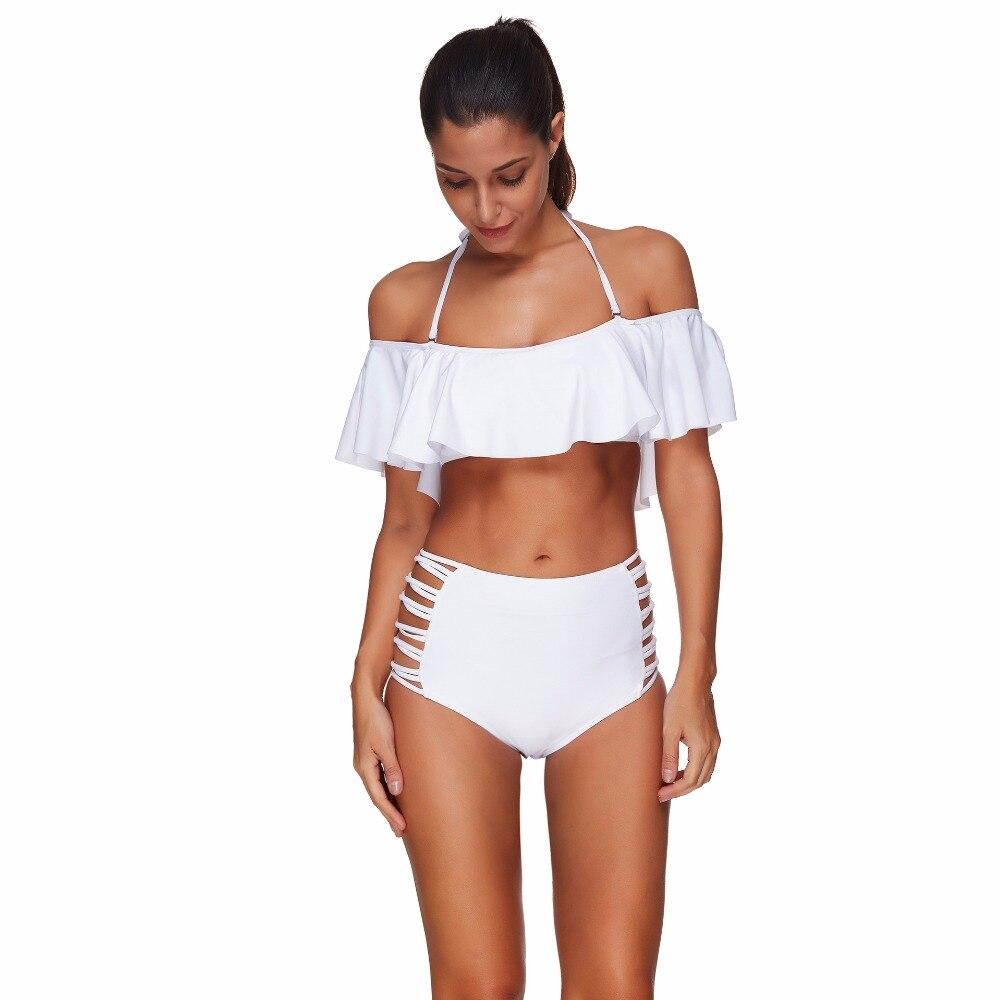 High Waist Bikini Ruffle Bikini Sets Bandeau Swimsuits Wire Free Bathing Suits 2018 Maillot De Bain Xl Xxl