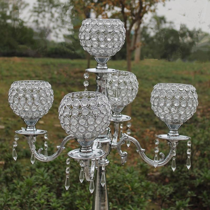 Top 76cm hündürlüyündə 5 qolu metal şamdanlar, büllur - Ev dekoru - Fotoqrafiya 6