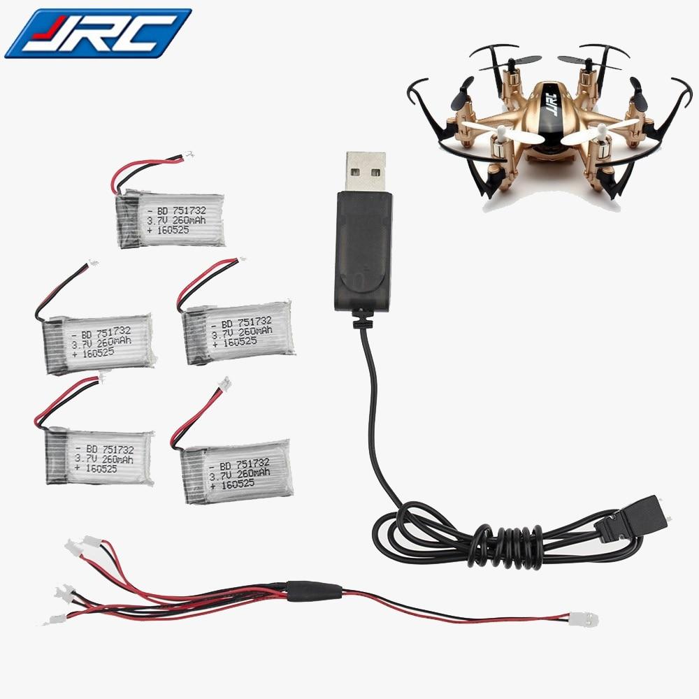 5 pcs 3.7 V 260 mah 30C Lipo Batterie Pour RC JJRC H20 Avion Hélicoptère Drone batterie + usb chargeur ensemble