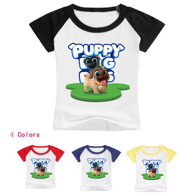 2018 Kids Cartoon Puppy Dog Pals Short Sleeves T Shirt Child Summer