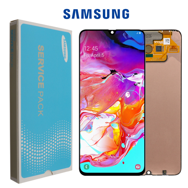 Orijinal 6.7 süper AMOLED LCD ekran Samsung Galaxy A70 LCD A705 A705F SM A705MN ekran dokunmatik ekran Digitizer meclisi