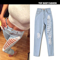 2045 New 2016 Hot Fashion Ladies Cotton Denim Pants Stretch Womens Bleach Ripped Skinny Jeans Denim Jeans For Female size 32-44