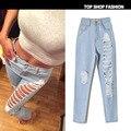 2045 Novo 2016 Hot Moda Feminina Cotton Denim Calças Stretch Bleach Ripped Skinny Jeans Denim calças de Brim das mulheres Para O tamanho da Fêmea 32-44