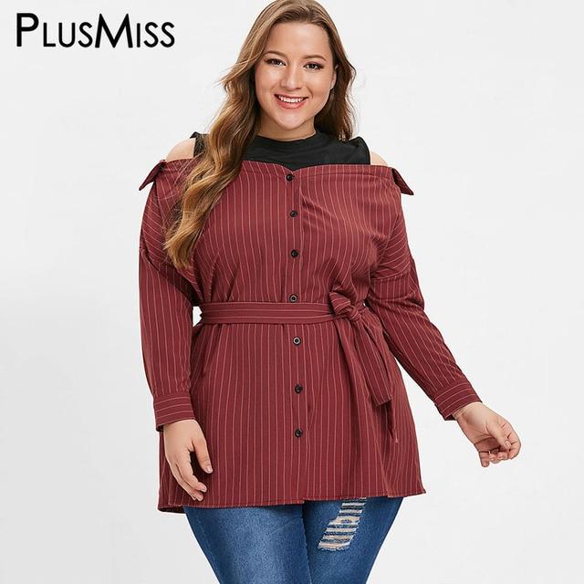 081bedfb34aa6 PlusMiss Plus Size 5XL-L Striped Cold Shoulder Blouse Shirts with Belt Women  Autumn Cold Shoulder Long Sleeve Tops Big Size 2018