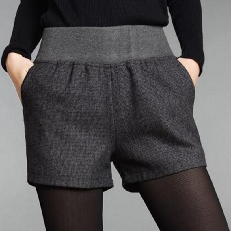 3ad819e1c4f5 Online Shop Women Winter Shorts Elastic Waist Casual Shorts 2017 Autumn  Winter Wool Straight Shorts Dark Grey Classical Shorts   Aliexpress Mobile